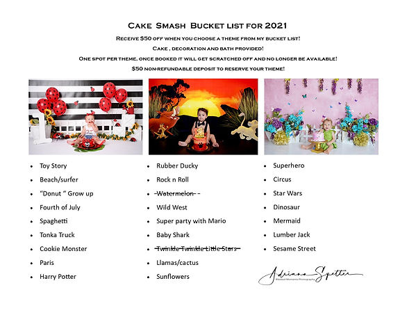 Cake Smash 2021 bucket list