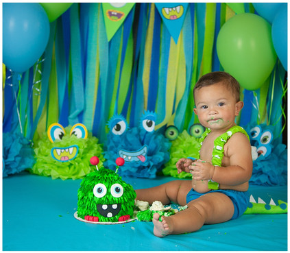Monster Smash Cake Photos