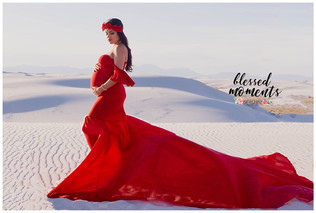 Red Premium Maternity gown with long flowing train