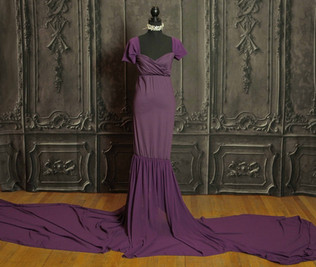 Grape Long Tail Maternity Gown