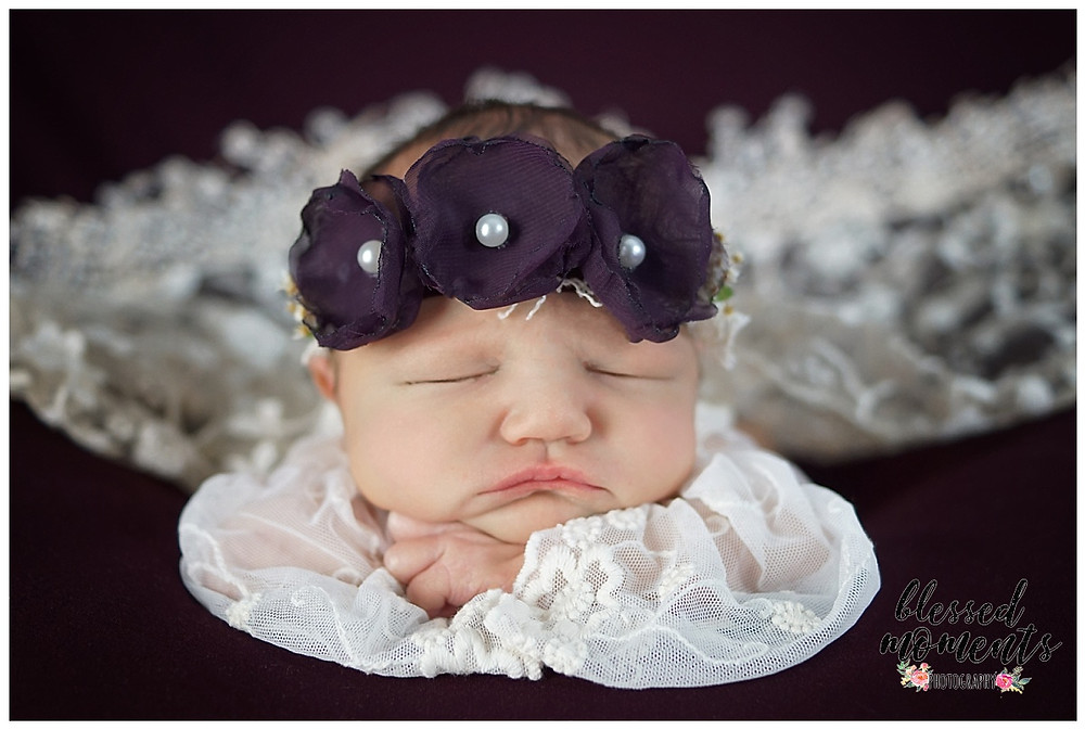 newborn baby girl with burgandy floral crown