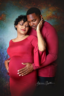 Maternity couple in studio