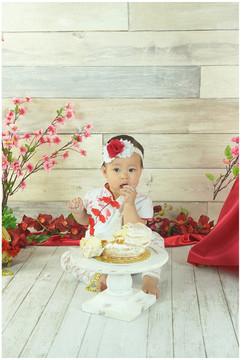 Red boho smash cake