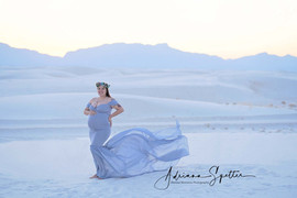 Smokey Blue Long Tail Maternity Gown
