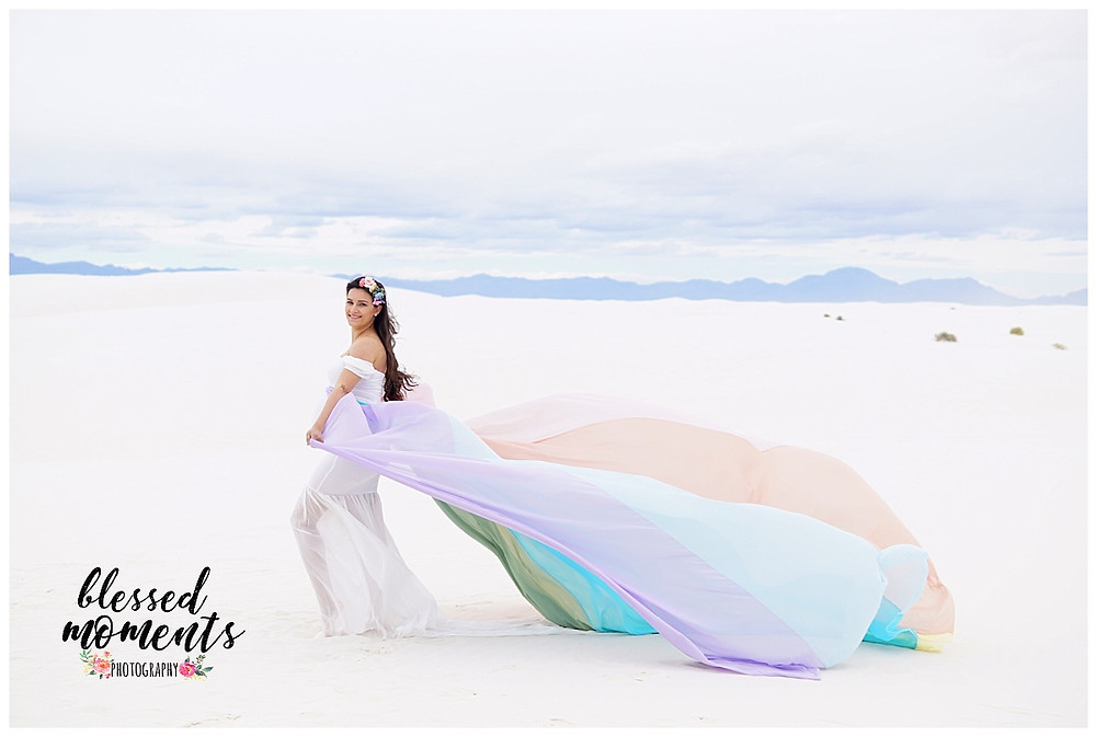 Pastel Rainbow maternity dress at White Sands
