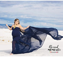 Navy blue Mermaid maternity dress shot at White Sands