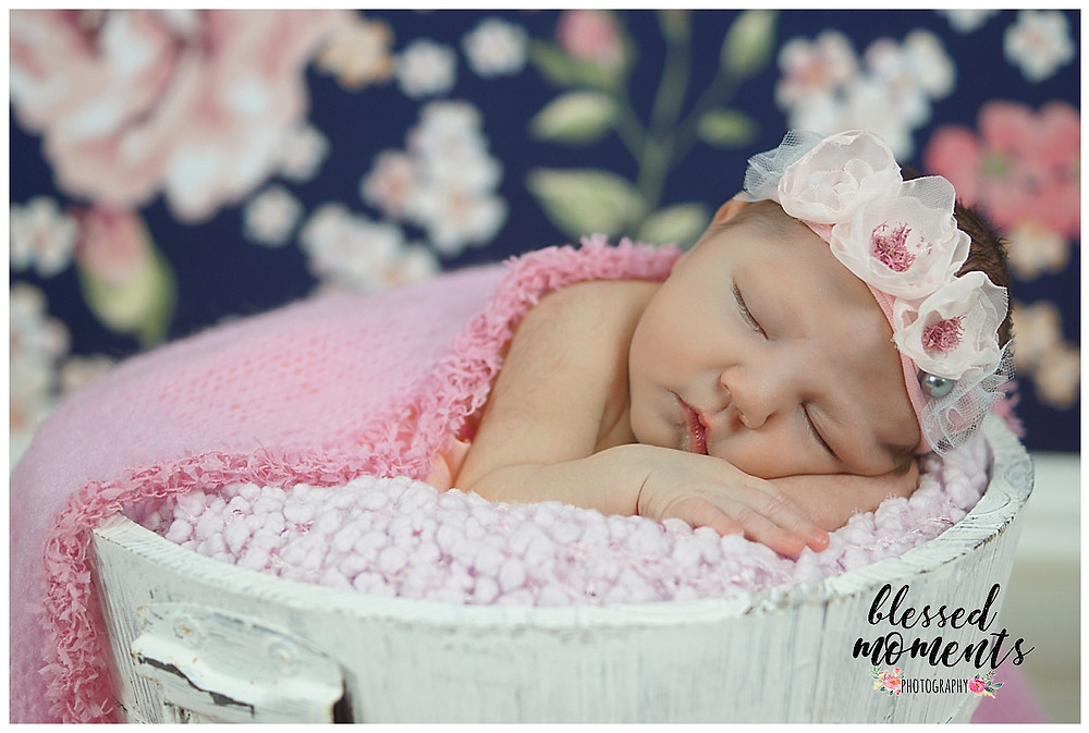 newborn baby girl in white bucket and pink floral crown