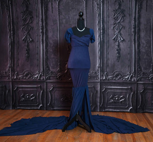 Navy Blue Long Tail Maternity Gown