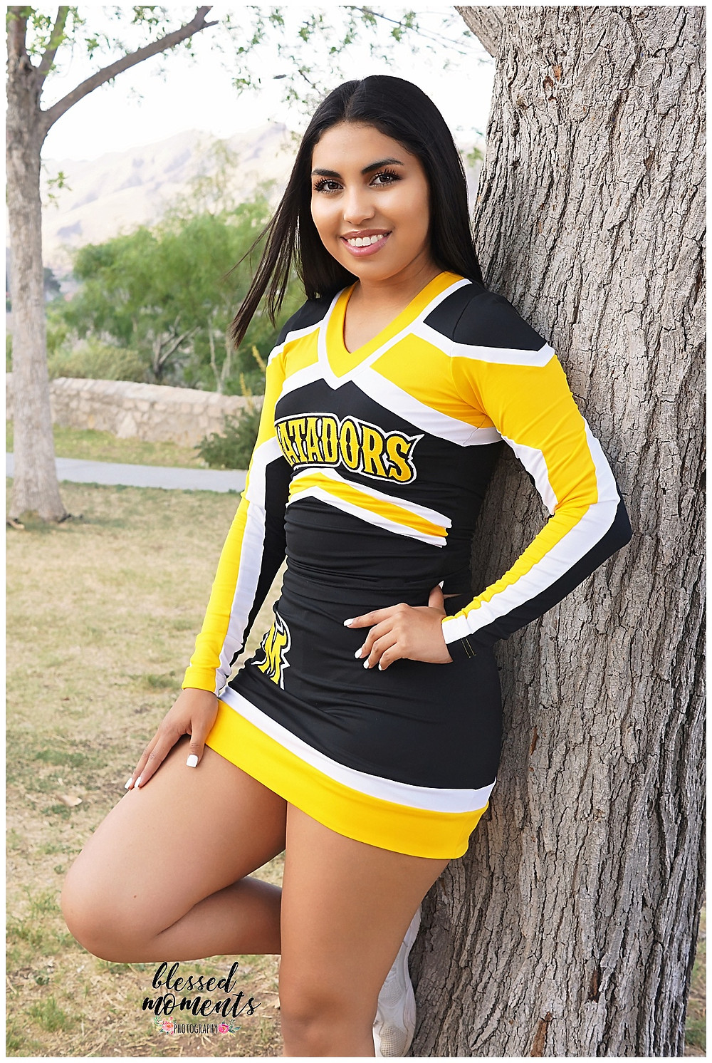 El Paso Senior wearing Parkland High Matador cheer leading outfit