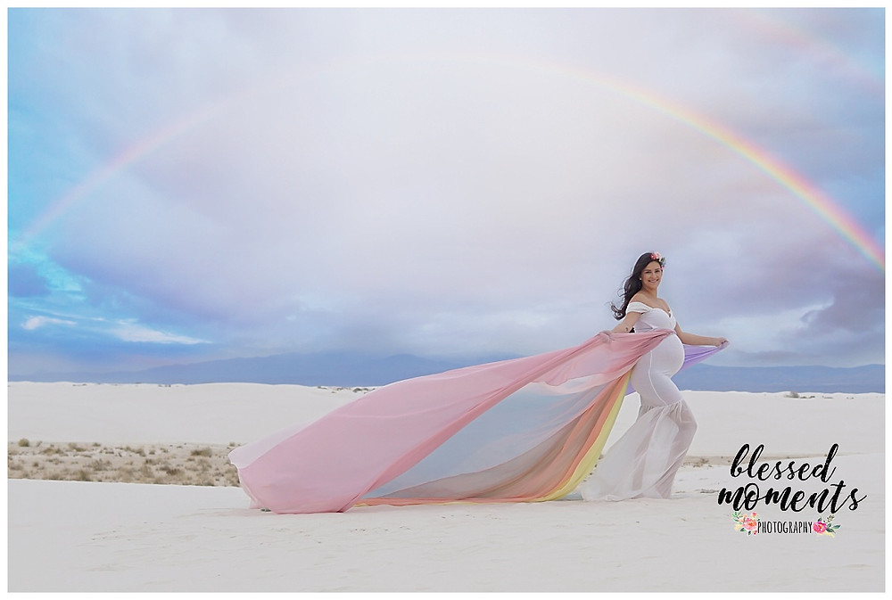 Rainbow Maternity dress shot at White Sands with a rainbow in the sky