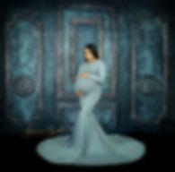 Smokey Blue Maternity Gown