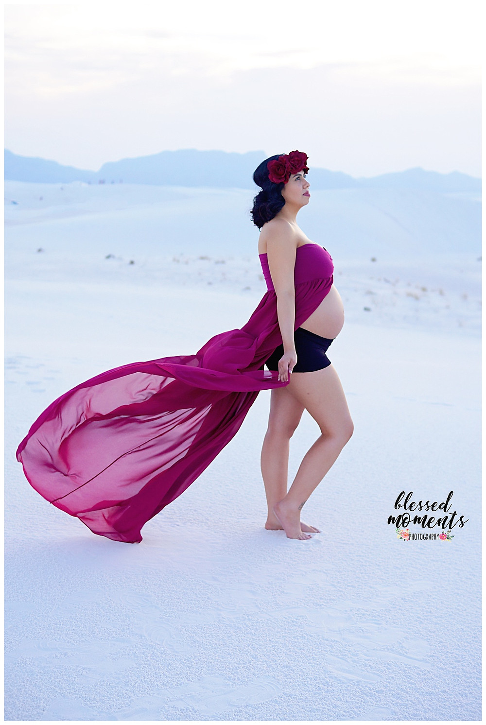 Raspberry Maternity gown at White Sands