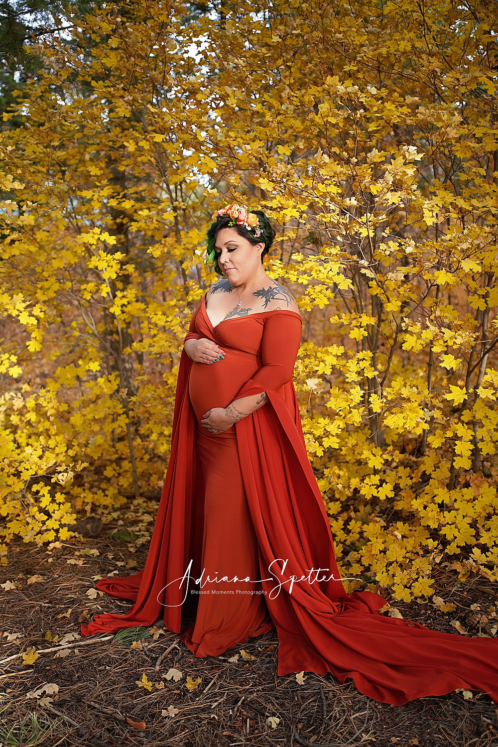 Maternity photo with mama wearing a rust colored flowing gown standing in front of a tree adorned with yellow leaves.