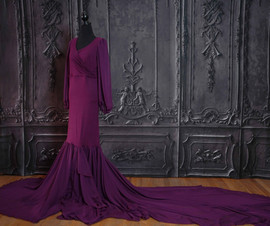 Plum Maternity Gown with Long Train