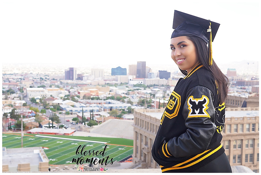 El Paso High school Senior wearing leter jacket for Parkland High