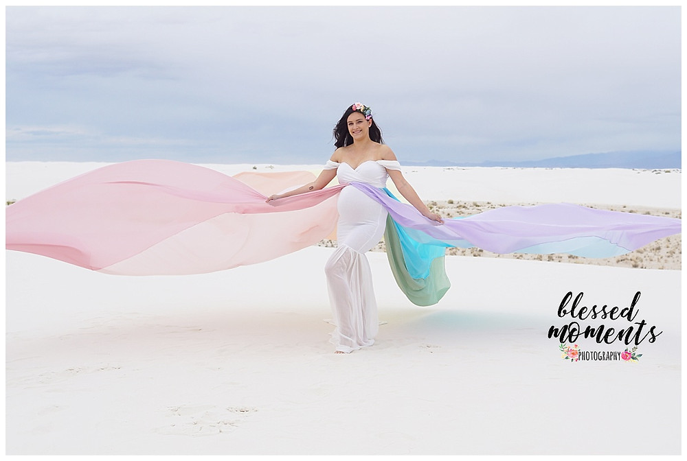 Flowing Rainbow Maternity gown shot at White Sands national Monument