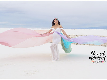 Rainbow Maternity session with Sara at White Sands
