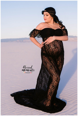 Black lace maternity gown