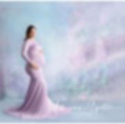 Alamogordo Maternity Photo in studio with liliac maternity gown