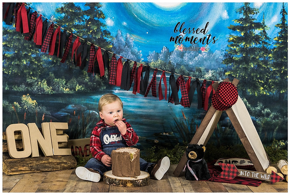 Lumber Jack Smash cake photo session for one year old boy