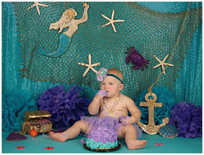 Mermaid Smash Cake Photography