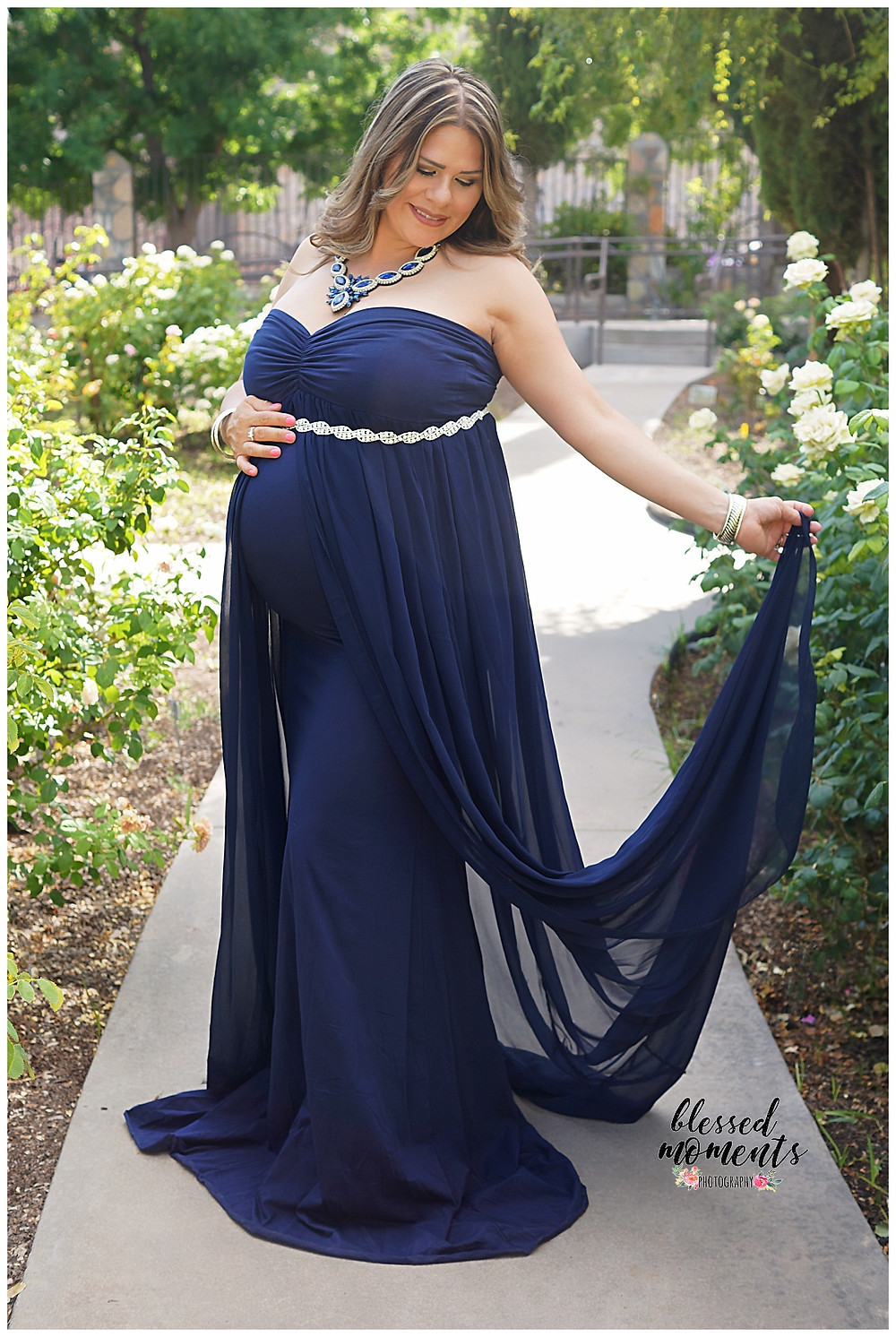 Navy Blue maternity dress at El Paso Rose Garden