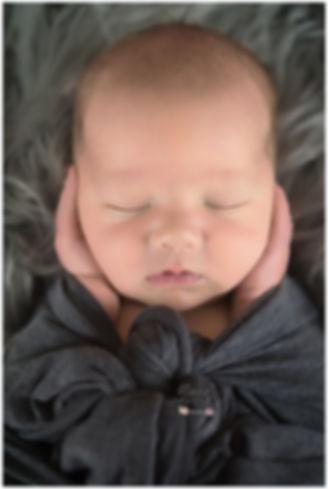 Newborn boy photo with grey wrap