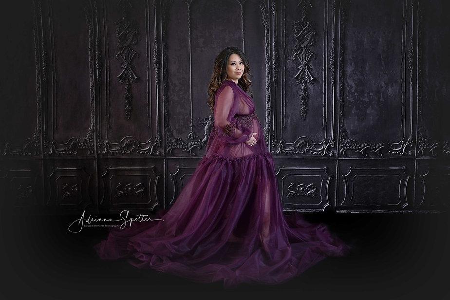 Boudoir Maternity photography shot in Alamogordo Studio wearing purple shear couture gown