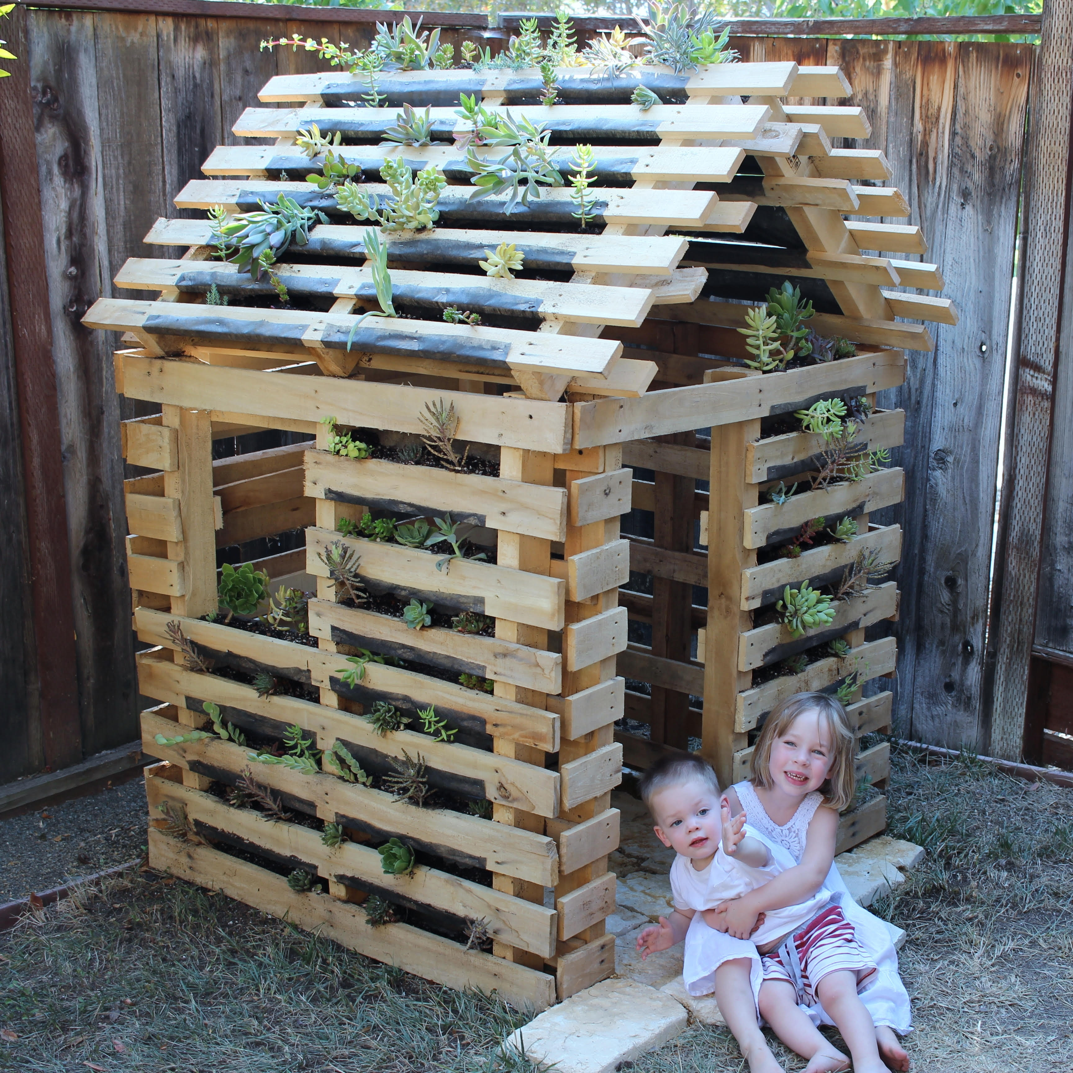 "Our ""Pallet Planter Playhouse"""
