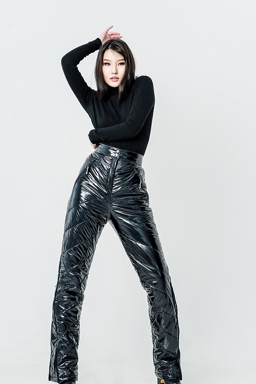 METALLIC BLACK PANTS