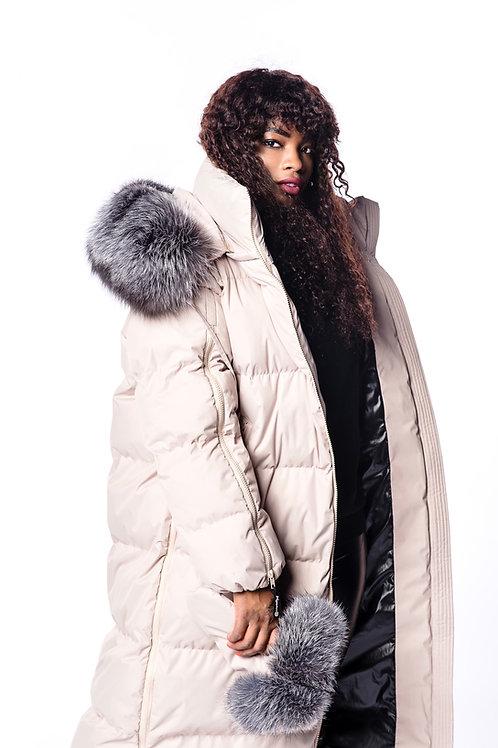 ZIPPER SUPREME  Beige nude down coat
