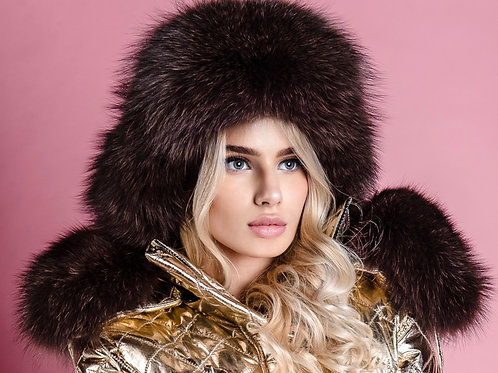 Brown arctic fox fur hat