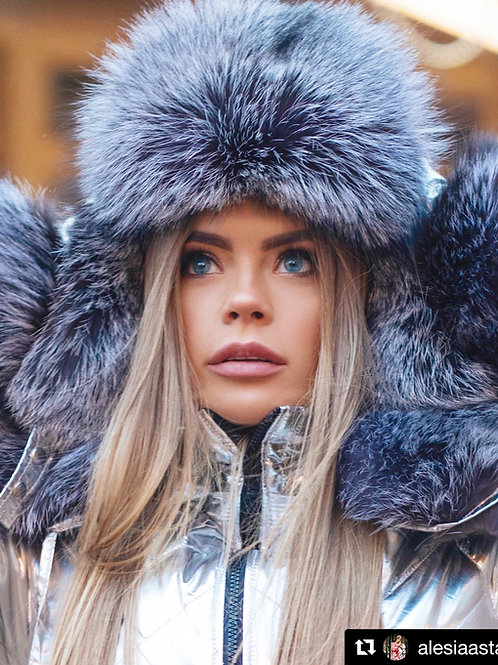 Silver arctic fox fur hat