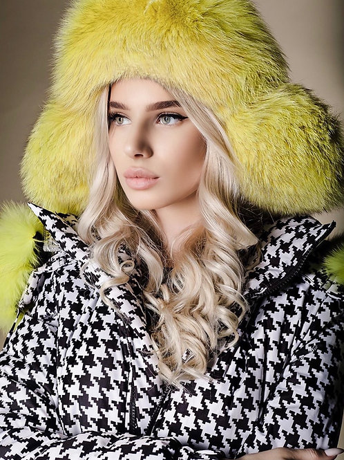 Yellow arctic fox fur hat