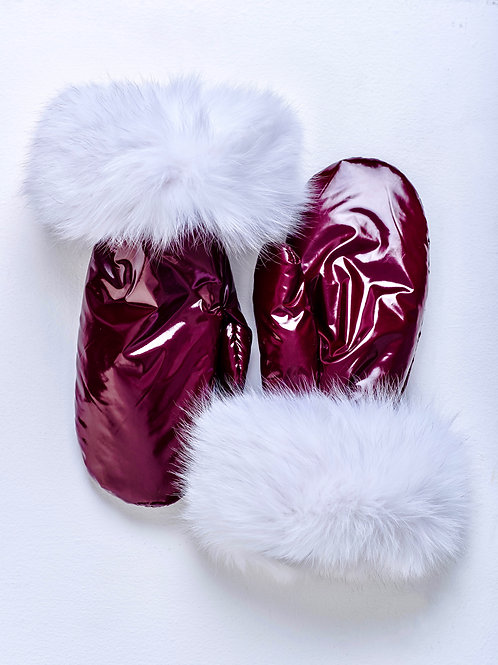 WINE METALLIC MITTENS