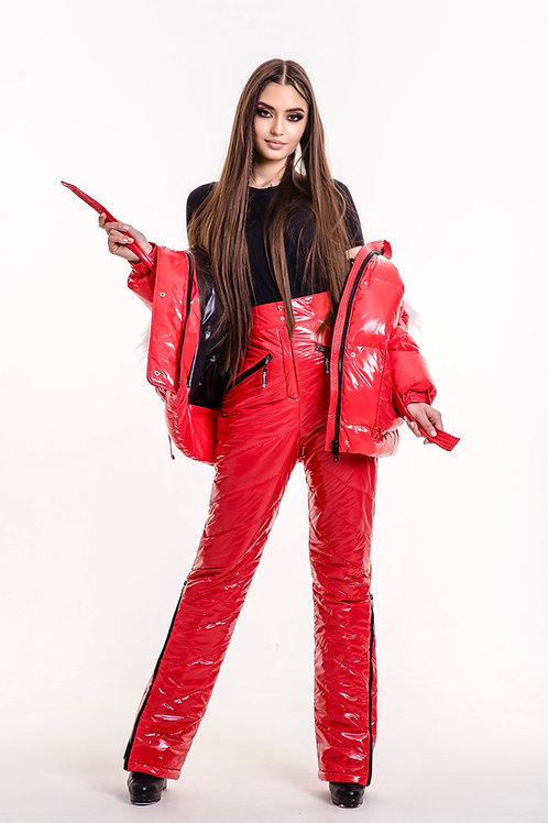 FIERY RED moncler FITTED JACKET AND INSULATED TROUSERS