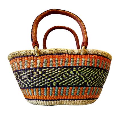 Bolga Basket made from Elephant Grass Orange