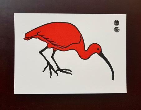 Hand printed African Animals - A4 Lino print - Hippopotamus, Ibis or Rhino