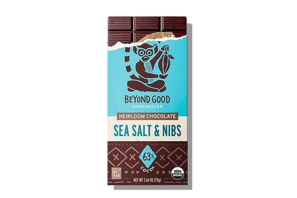 Madécasse Beyond Good –  SEA SALT AND NIBS 63% cacao - Vegan Pure Chocolate