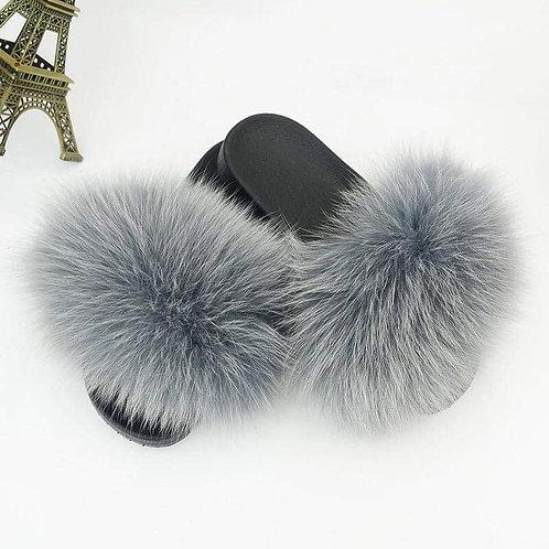 Solid Color Fur Slides