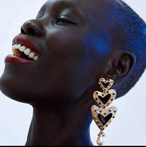 Triple Heart Pearl Earrings