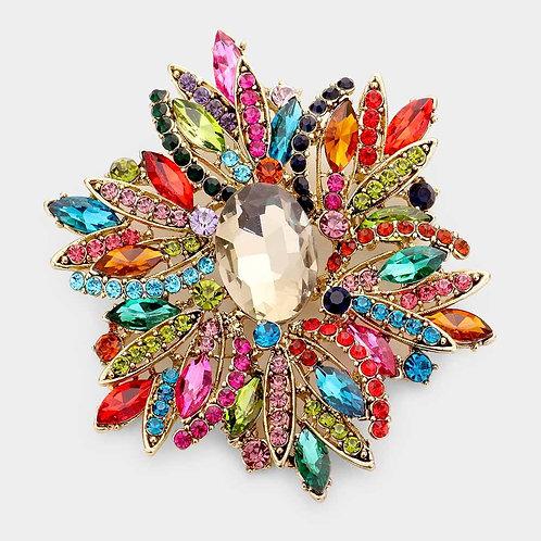 Glass Crystal Brooch Pin