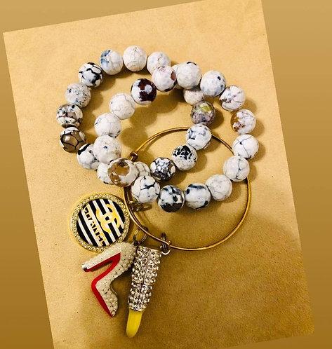 3Pc 12MM & cable wire charm bracelet set
