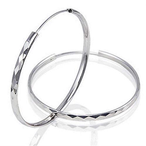 Diamond Cut 925 Sterling Silver Big Hoop Earrings