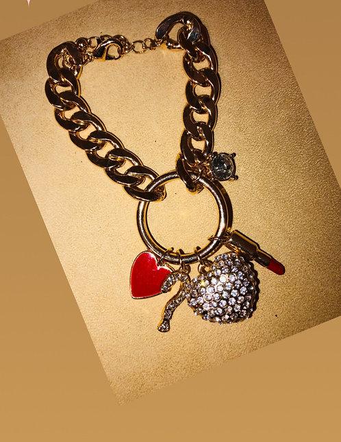 Gold large link charm bracelet