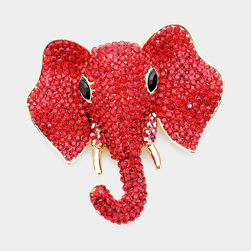 Red Elephant Pin Brooch