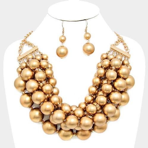 Chunky Multi Strand Gold Necklace