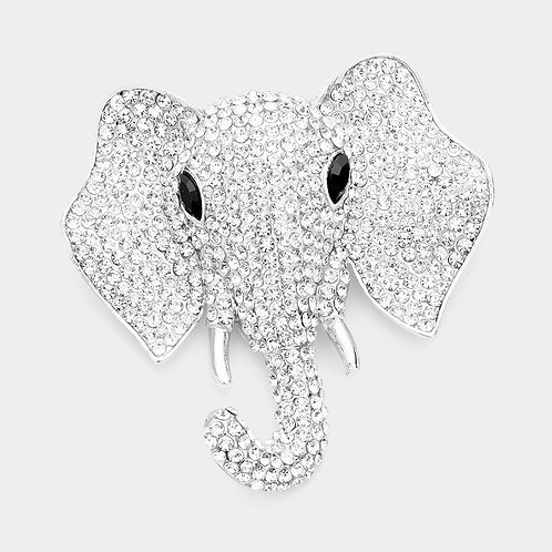 Silver Elephant Pin Brooch