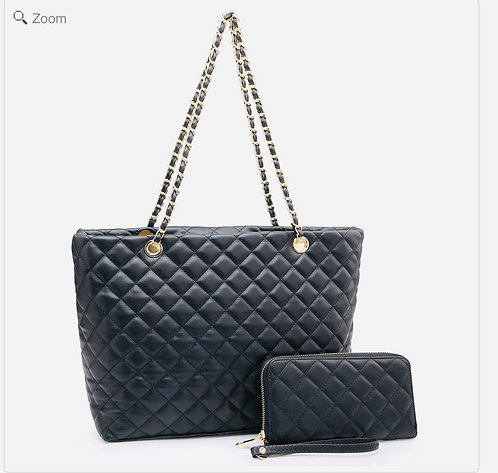 Quilted Black Satchel  Includes Matching Wallet