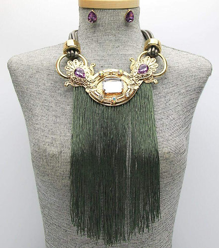 Assorted Colors Tassle Bling Necklace with Earrings
